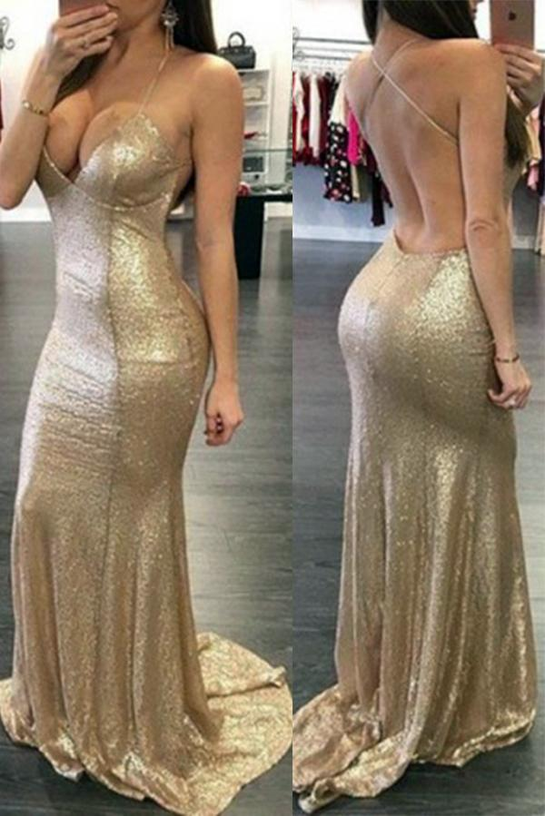 Golden Halter Deep V-Neck Open Back Prom Dress with Sweep Train, MP382