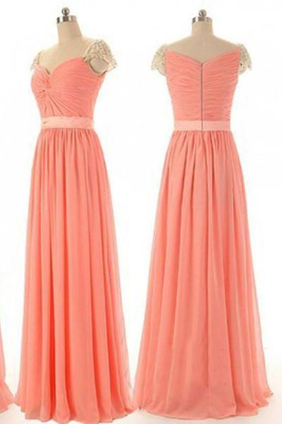 Beaded Chiffon Cap Sleeve Sweetheart Long Bridesmaid Dresses, Simple Prom Dress, MP123
