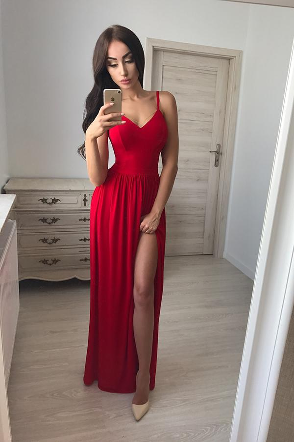 Red Chiffon A-Line V-Neck Floor-Length Spaghetti Straps Side Slit Prom Dress, MP168