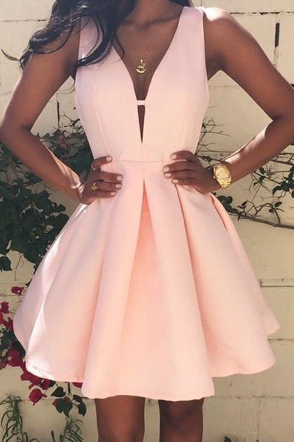 Simple Pink A-line Satin V neck Homecoming Dress, Short Prom Dresses, MH279