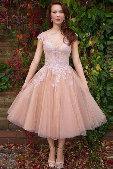 Pink A-line Cap Sleeves Short Prom Dresses, Lace Homecoming Dresses on Line, MH111