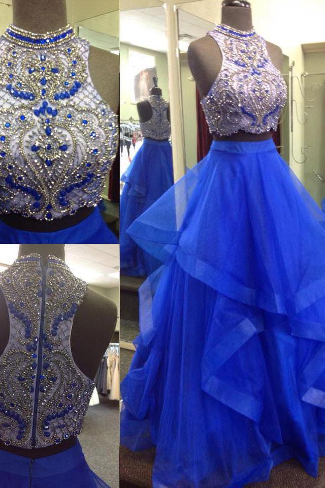 Charming Royal Blue Beaded A-line Ball Gown Top Two Piece Prom Dresses, MP161