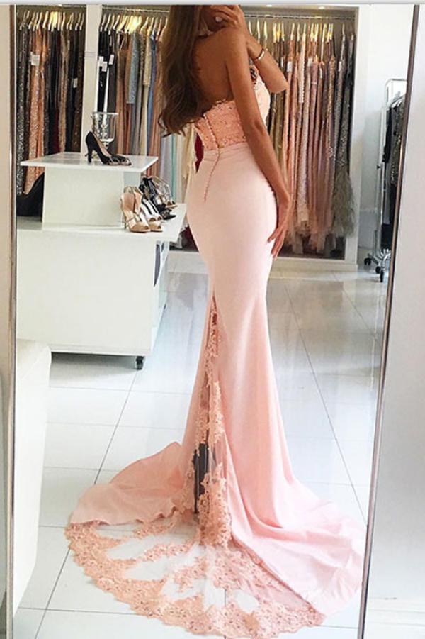Cute Pink Lace Backless Mermaid Halter Beaded Long Prom Dresses, MP178 at musebridals.com