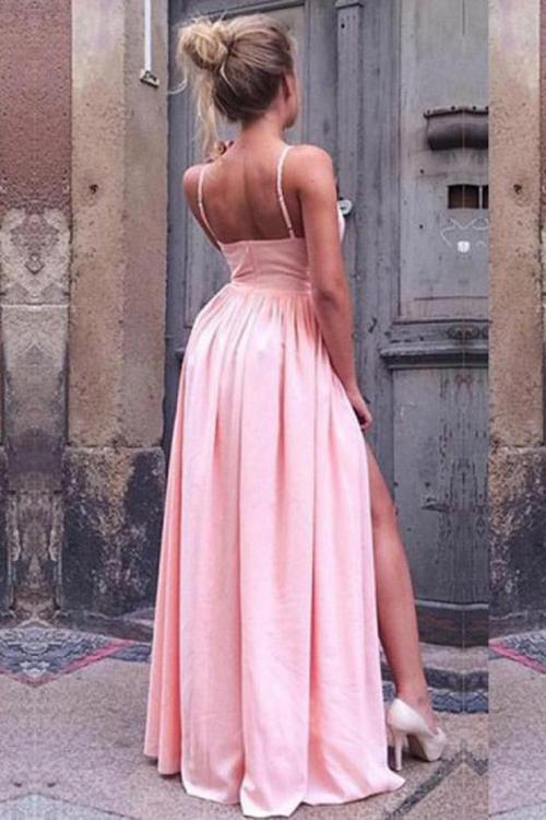 Pink A-Line Spaghetti Straps V neck Prom Dresses with High Split, MP336|musebridals.com