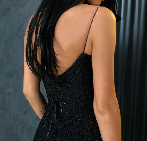 Glamorous Black V-neck Mermaid Spaghetti-Strapes Sequins Prom Dresses, MP462