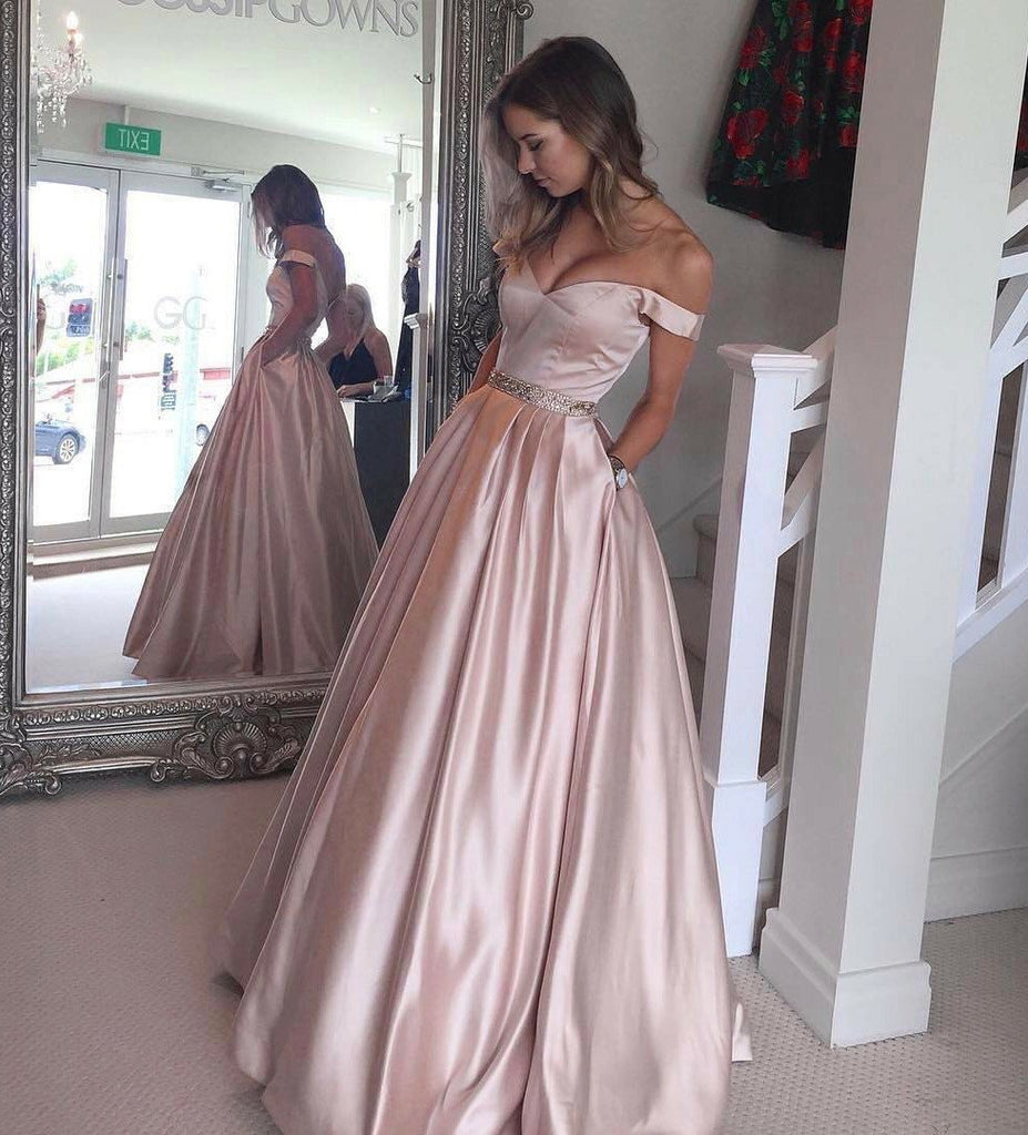 Simple A-line Off the Shoulder Floor Length Prom Dresses, Evening Dresses, MP311|musebridals.com