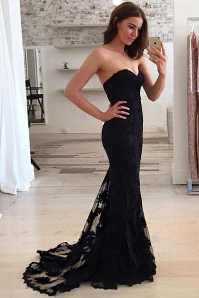 Black Mermaid Lace Sweetheart Long Prom Dress, Chic Party Dress, Evening Dresses, MP129
