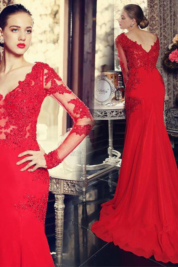 Gorgeous Red V-neck Long Sleeves Mermaid Satin Prom Dresses With Appliques, MP414
