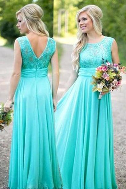New Arrival Green Chiffon A-line Sleeveless Evening Dresses Prom Dress, MP306