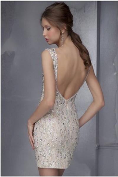 Glittering Open Back Beaded Charming Short Homecoming Dresses, Party Dresses, MH328