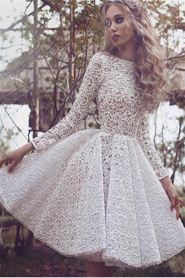 Fabulous Lace Long Sleeves Short Prom Dresses, Homecoming Dress, MH333