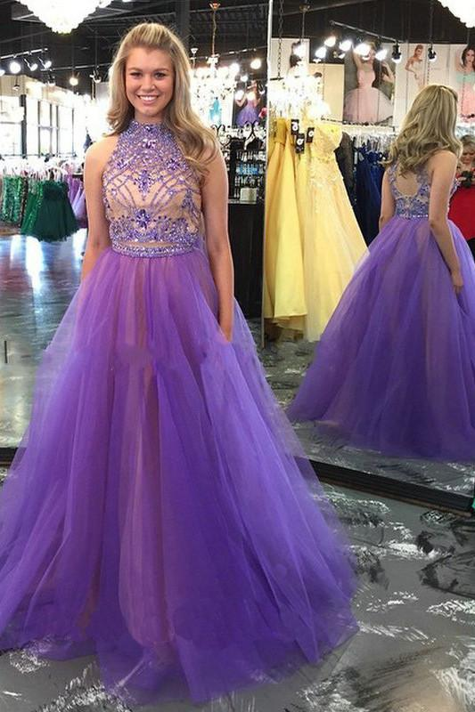 Two Piece High Neck Backless Lavender Long Prom Dress, Evening Dress with Beading, MP103
