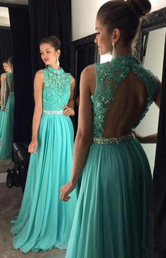 Fabulous Beaded High Neck Backless Turquoise Long Prom Dress with Appliques, MP213