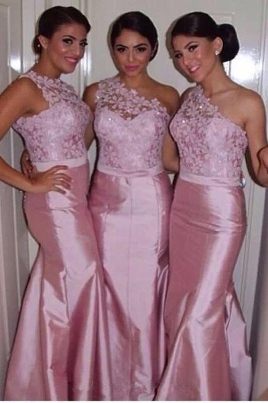 Gorgeous Pink Mermaid One Shoulder Long Bridesmaid Dresses with Lace, MB161