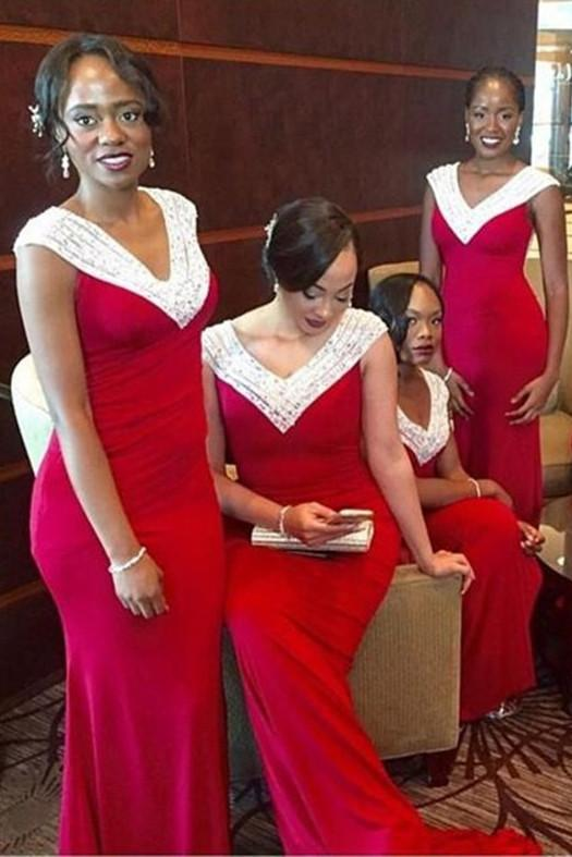 Elegant Red Cap Sleeves V-neck Mermaid Bridesmaid Dress with Beading, MB141