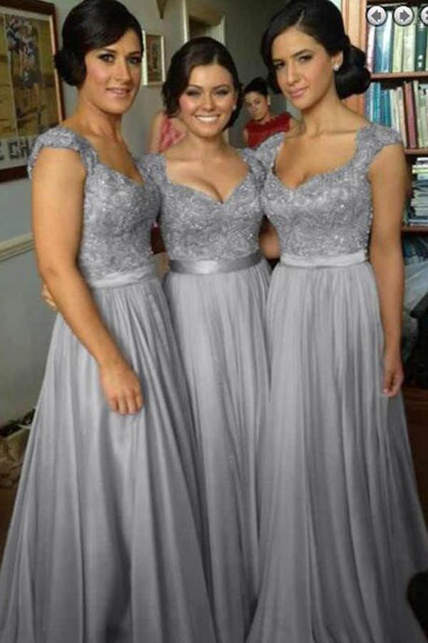 Chiffon Beaded Simple A-line Cap Sleeve Long Bridesmaid Dresses on line, MB124