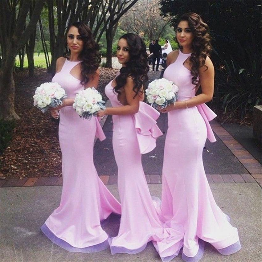 Fabulous Pink Halter Mermaid Open Back Bridesmaid Dresses with Ruffles, MB162|musebridals.com