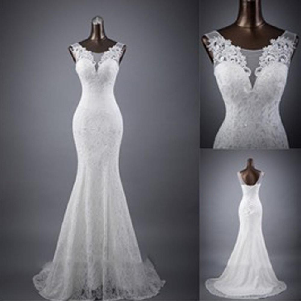 White Sleeveless Mermaid Lace Up Wedding Dresses, Popular Bridal Dress, MW132 at musebridals.com