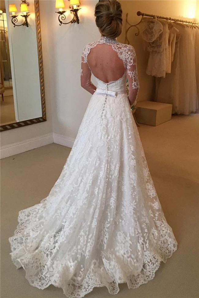 High Neckline Lace A line Long Sleeve Open Back Wedding Dress, Bridal Dresses, MW166|musebridals.com