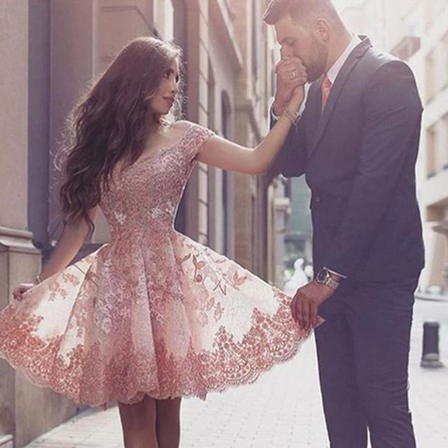 Charming Blush Off Shoulder Homecoming Dresses with Appliques, MH207