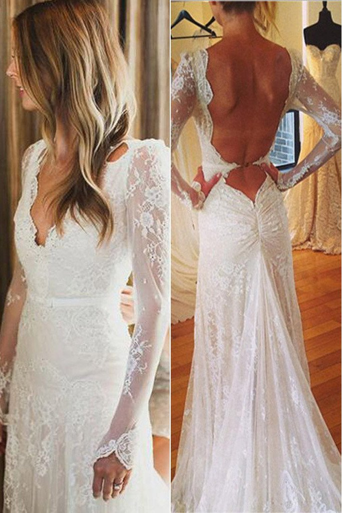 White Tulle Lace Open Back V-neck Mermaid Long Sleeve Wedding Dresses, MW177