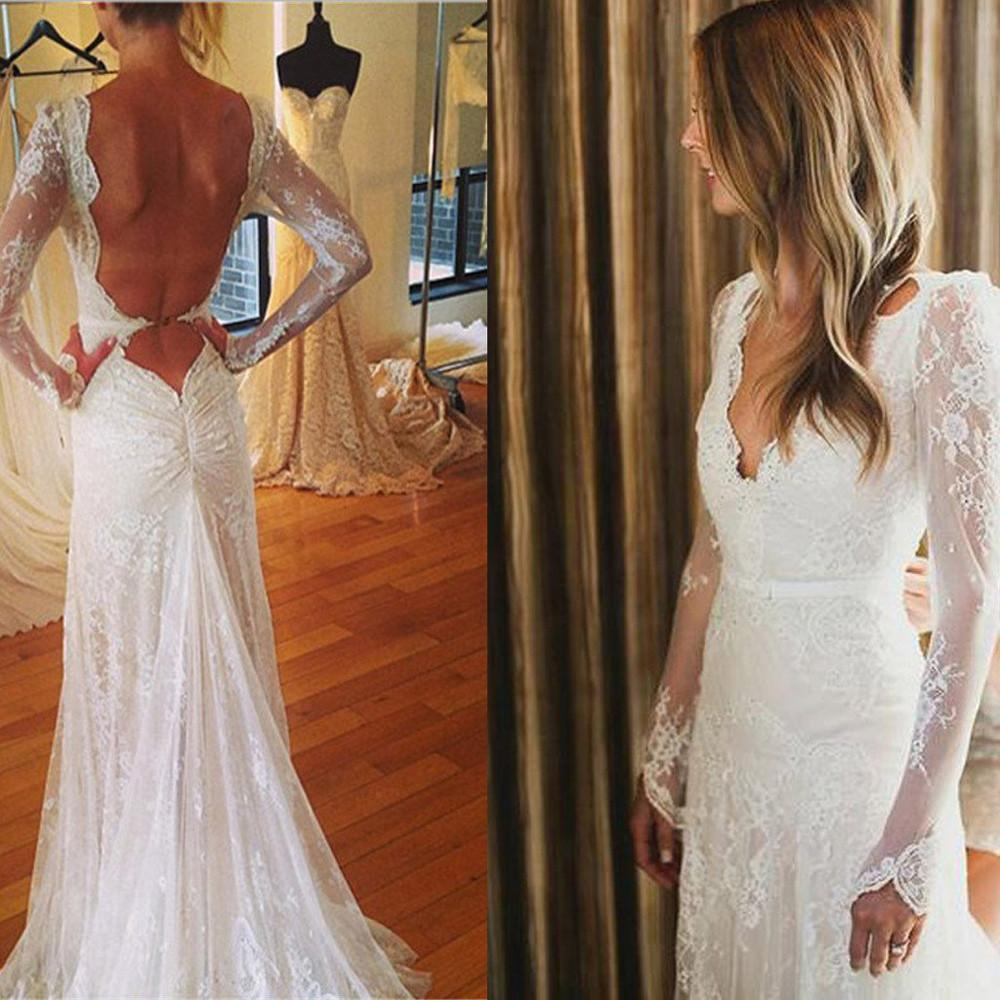 White Tulle Lace Open Back V-neck Mermaid Long Sleeve Wedding Dresses, MW177|musebridals.com