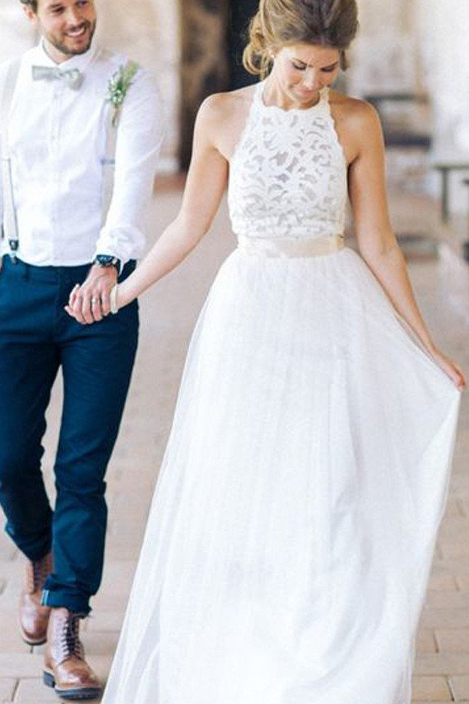 Simple White Halter Lace Long Sheath Beach Wedding Dresses Bridal Dresses, MW241
