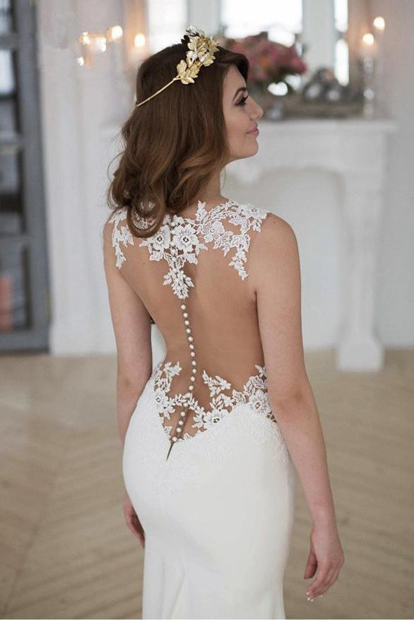 White Lace Mermaid See Through Long Wedding Dresses with Sweep Train, MW185