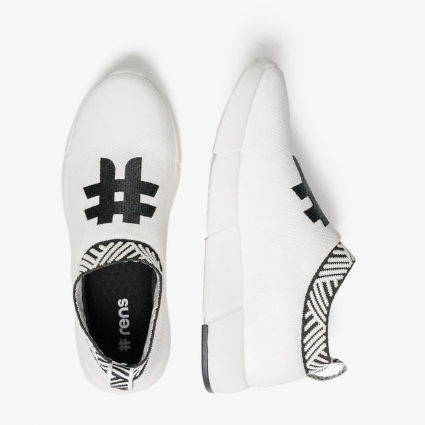 Women's Coffee Sneakers - Rebel White