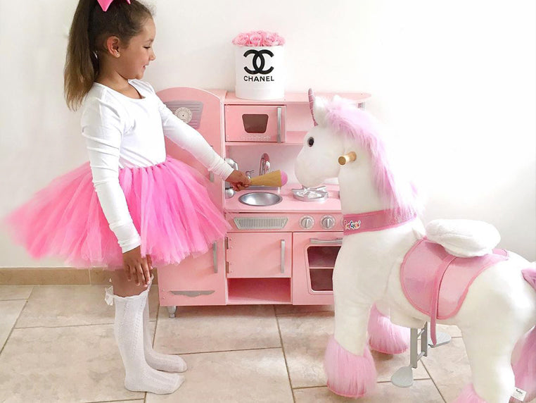Kids can play with PonyCycle ride on unicorn interactively. Kids like play pretend game, they can feed the pony, the unicorn, as well as dress up the  pony toy.