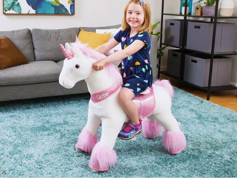 PonyCycle ride on toy workable on carpet. This perfect gift for kids-PonyCycle ride on horse /unicron toy  can play on carpet. Not only unique out door ride on toy but also a perfect indoor rideable toy.