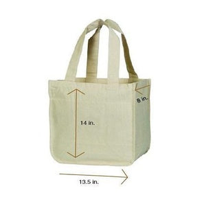 Organic Cotton Grocery Tote Bags with Compartments