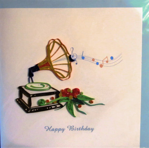 Gramophone Birthday Card