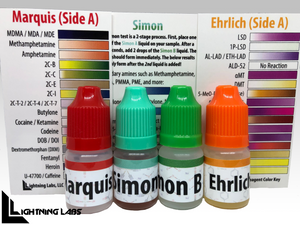 "Marquis, Ehrlich, & Simon Test ""Flip Kit"" for MDMA, Meth, LSD, etc (5ml bottles)"