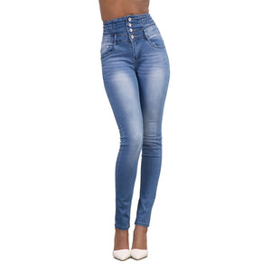 56829d9bb CALOFE New Autumn Woman Denim Pencil Pants Brand New Stretch High Waist Jeans  Elastic Skinny Slim Denim Long Pencil Pants