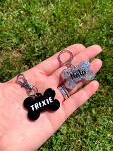 Black Bone Name Tag Keychain -Glow in the Dark Letters