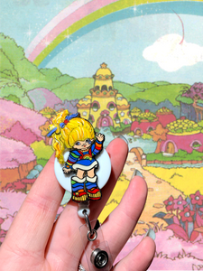 Glitter Rainbow Brite Inspired Swivel Badge Reel