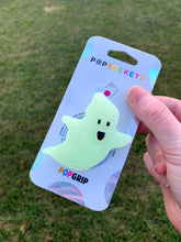 "Load image into Gallery viewer, Glow/Glitter  Ghost Inspired ""Pop"" Cell Phone Grip/ Stand"