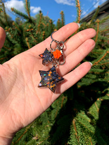 Orange/Black Glitter Star Keychain - Orange Rose/Small Matching Star