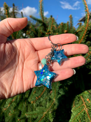 Blue Glitter Star Keychain - Teal Rose/Small Matching Star