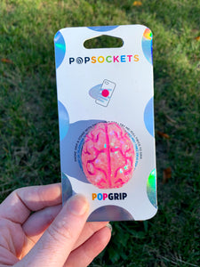 "Glitter/ Glow Pink Brains Inspired ""Pop"" Cell Phone Grip/ Stand"
