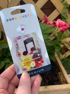 "Customizable Pressed Flower Music Player Inspired Shaker  ""Pop"" Cell Phone Grip/ Stand"