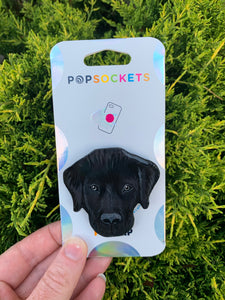 "Custom Black Lab Head Inspired ""Pop"" Cell Phone Grip/ Stand"