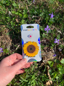"Glitter Sunflower Inspired ""Pop"" Cell Phone Grip and Stand"