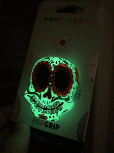 "Glow Sugar Skull Inspired ""Pop"" Cell Phone Grip/ Stand"
