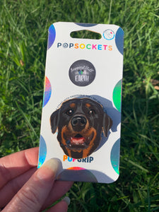 "Custom ""Autum"" Rottweiler Dog Head Inspired ""Pop"" Cell Phone Grip/ Stand"
