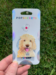 "Rizzo Labradoodle Dog Head Inspired ""Pop"" Cell Phone Grip/ Stand"