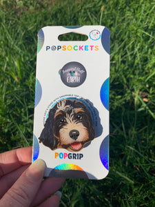 "Custom ""Lady"" Bernedoodle Dog Head Inspired ""Pop"" Cell Phone Grip/ Stand"