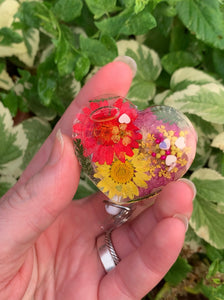"Mixed Color Pressed Flower Heart ""Shaker"" Swivel Badge Reel"