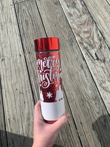 Red Glitter Christmas Inspired Double Wall Water Bottle
